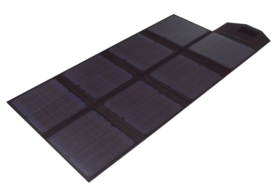 Kannettava Polaroid SP100 aurinkopaneeli levitettynä käyttökuntoon