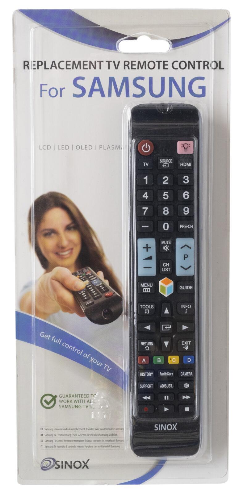 Samsung-television kaukosäädin Sinoxilta. Lisää vain paristot!