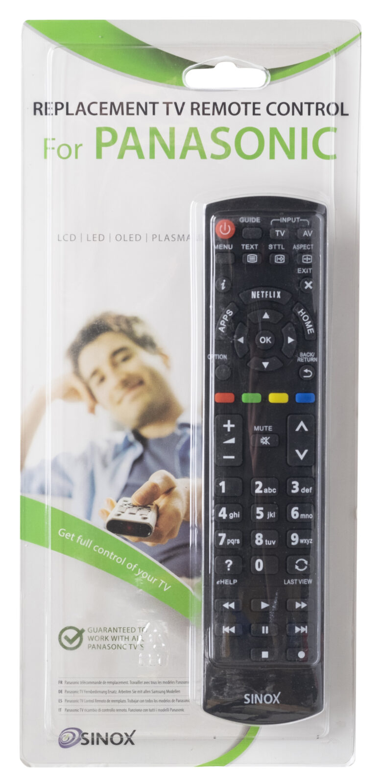 SXR1050 Sinox Panasonic kaukosäädin televisiolle myyntipakkauksessaan