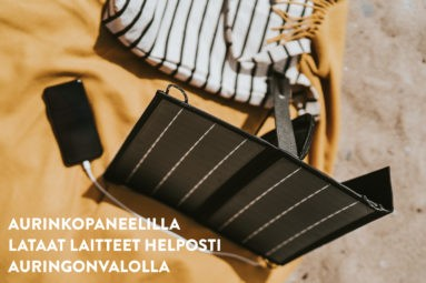 Kannettavalla aurinkopaneelilla onnistuu mm mobiililaitteiden lataaminen auringonvalolla